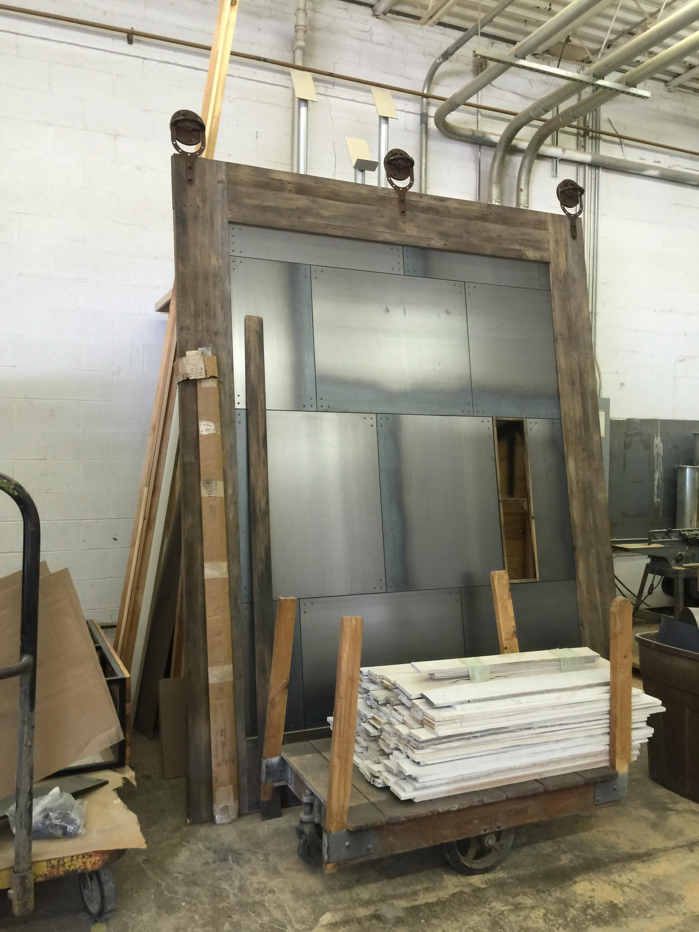 Big Tex barn door during construction, Barn door during fabrication