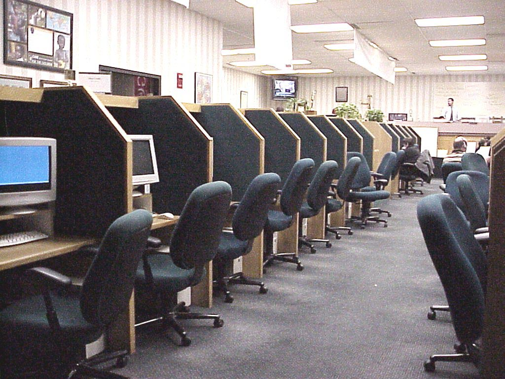 Group cubicals at Infocision call center, call center booths