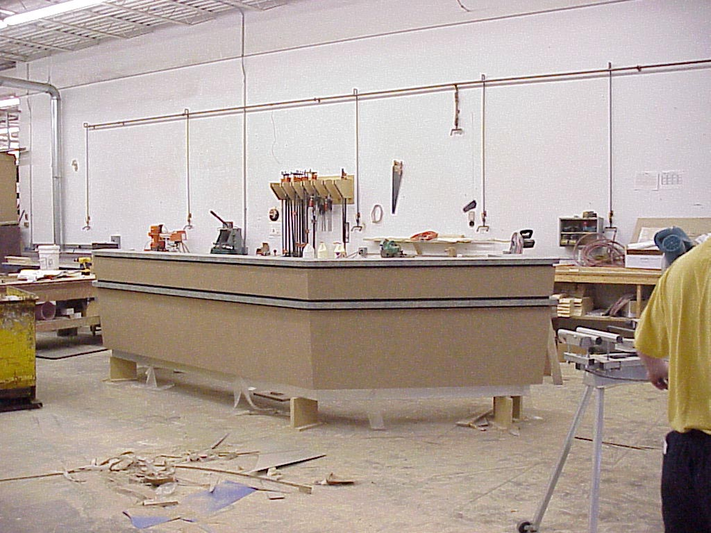 Reception desk under construction
