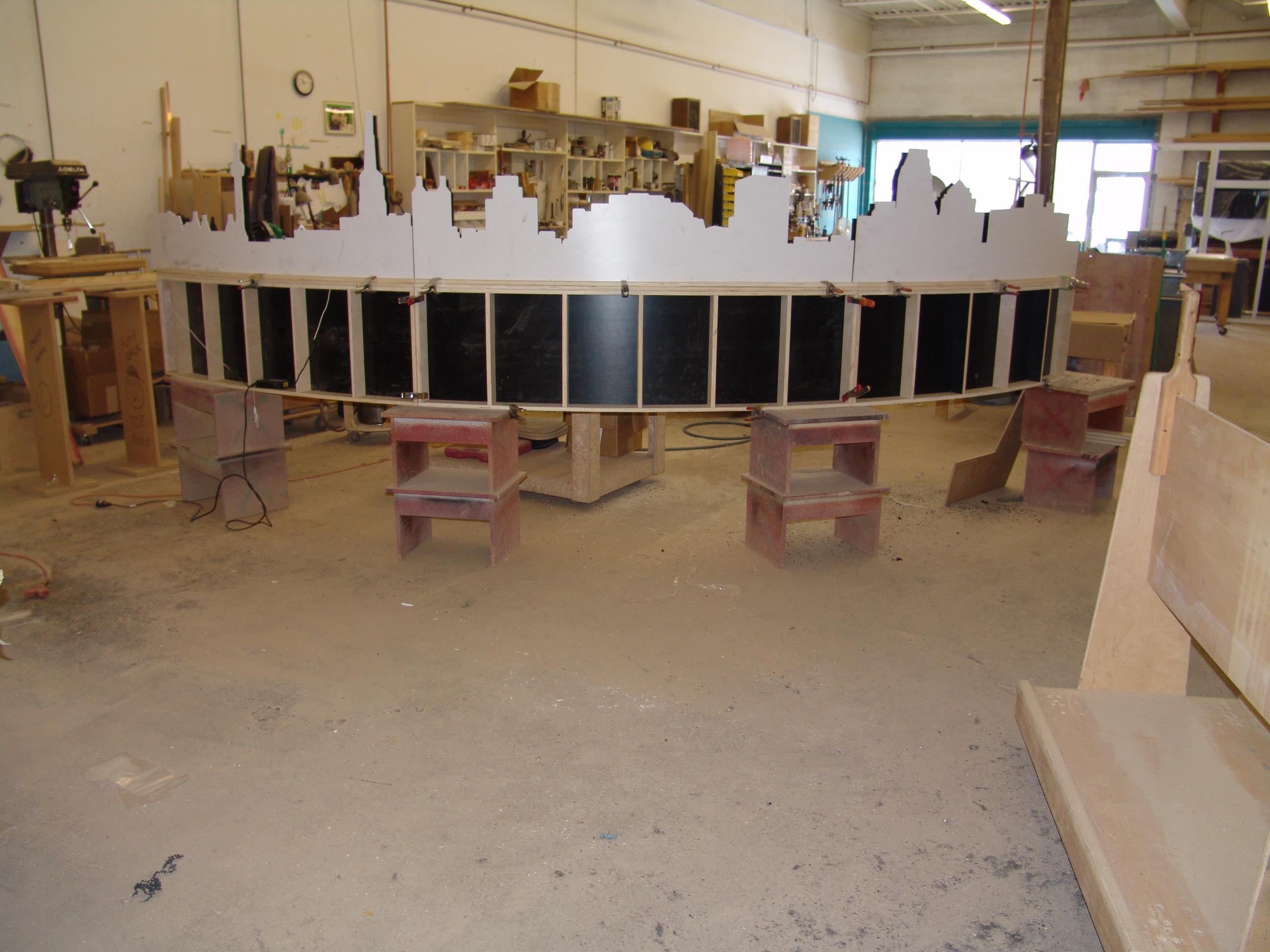 cityscape bench in fabrication