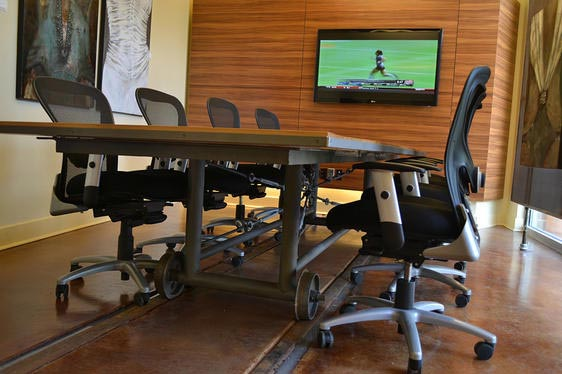 conference table on train wheels