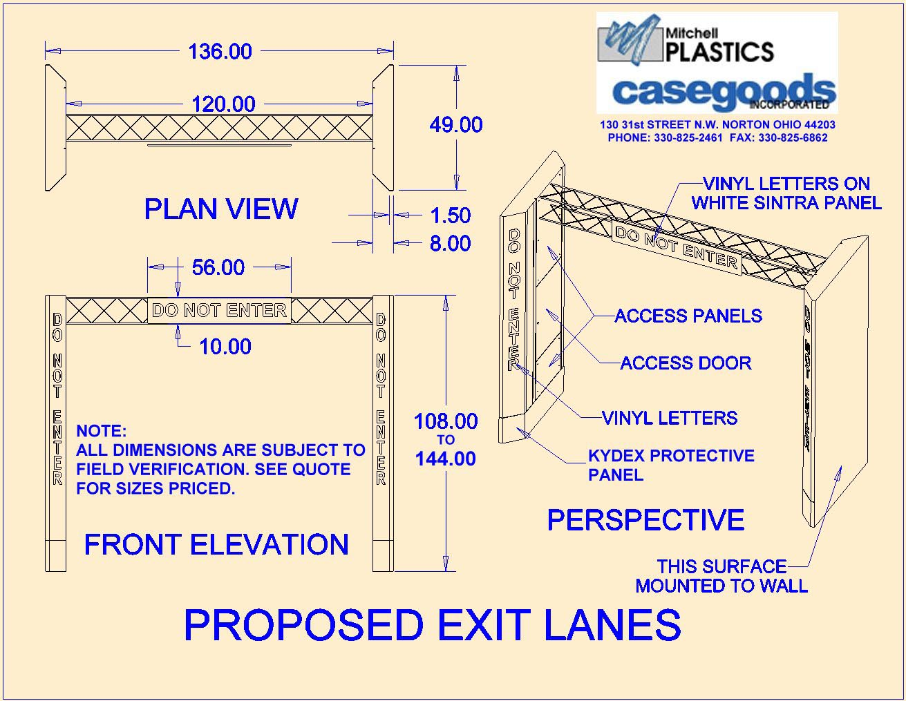 Exit lanes 9 ft drw