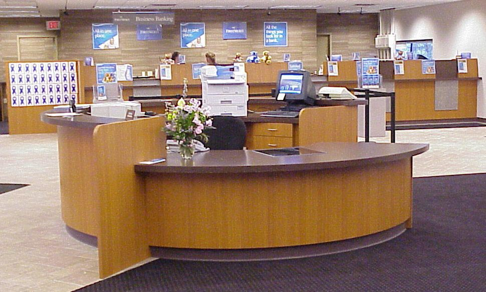 Bank reception desk, reception desk, financial institution reception desk