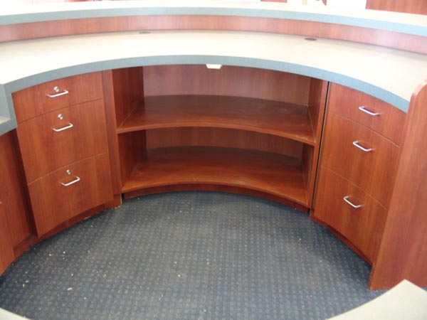 Inside reception desk