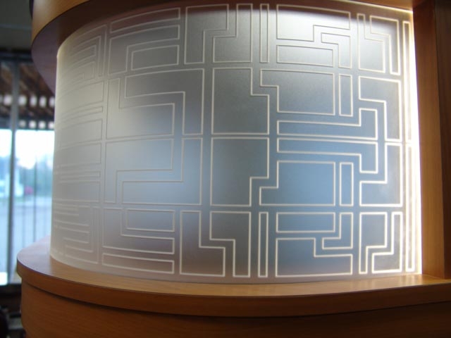 Curved acrylic engraved panel, frosted acrylic engraved panel
