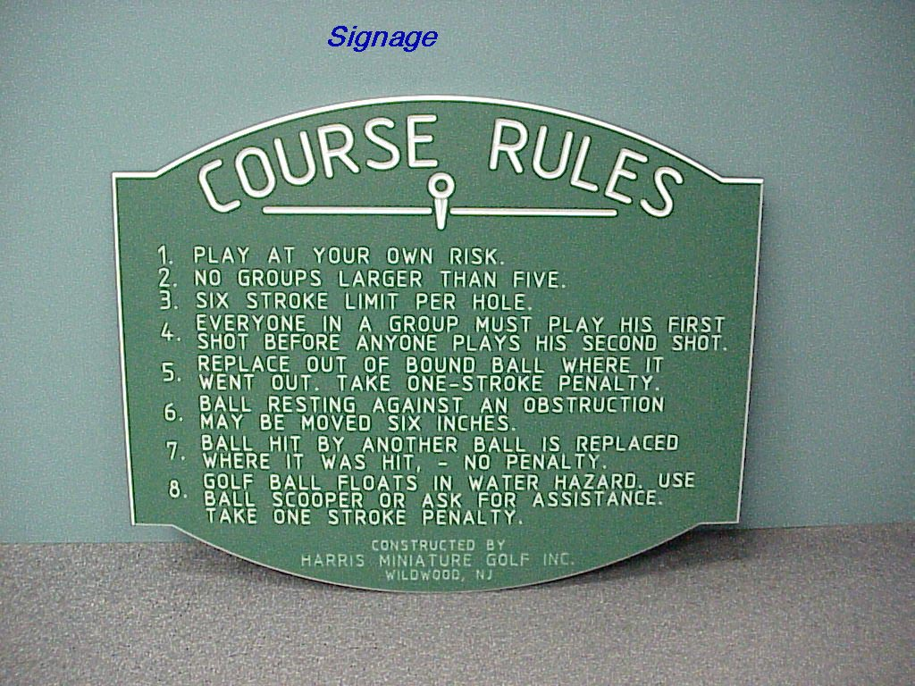Golf rules sign, Outdoor sign, outdoor ingraved sigh, Polyethelene ingraved sign