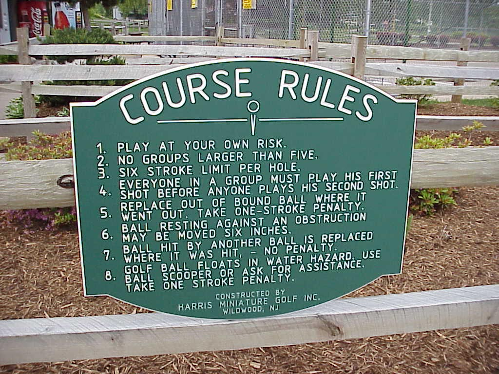 Putt golf sign, Miniature golf sign, Miniature golf engraved sign, Outdoor engraved sign, outdoor sign