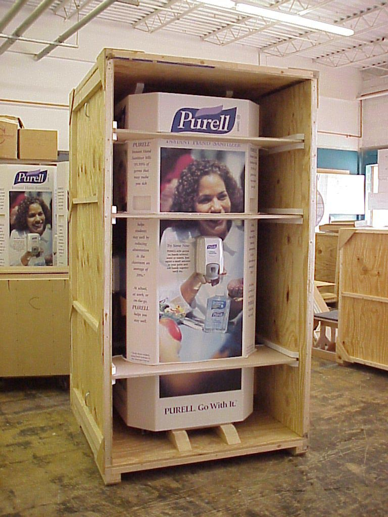 Purell display crated for shipping