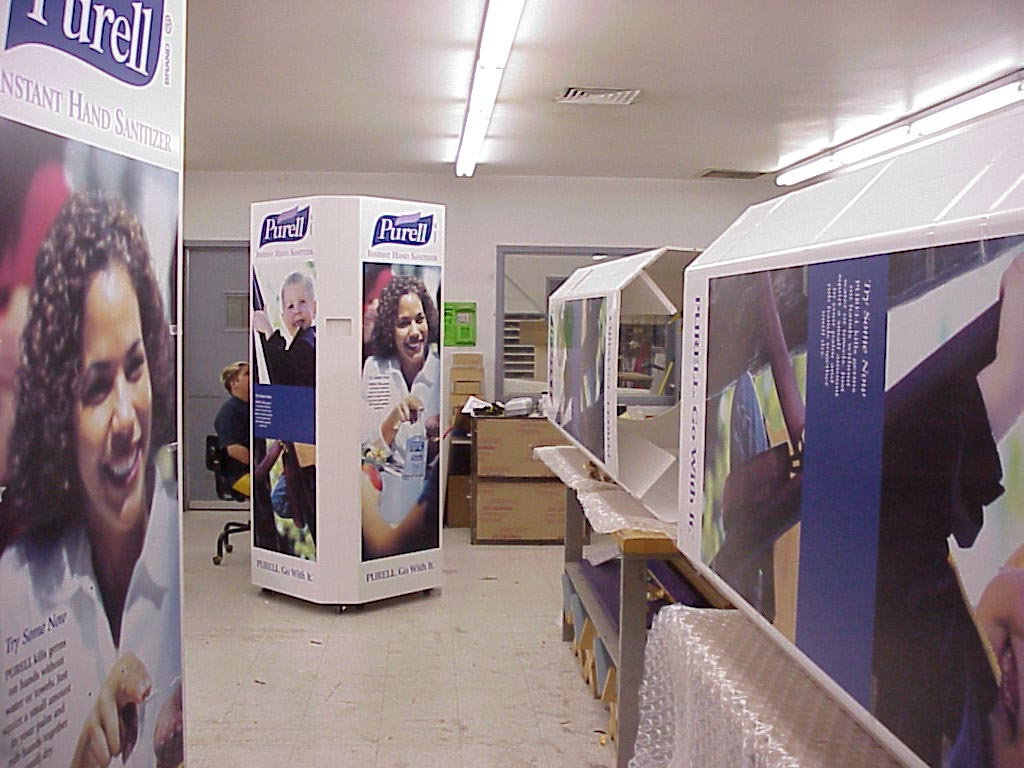 Purell displays in production