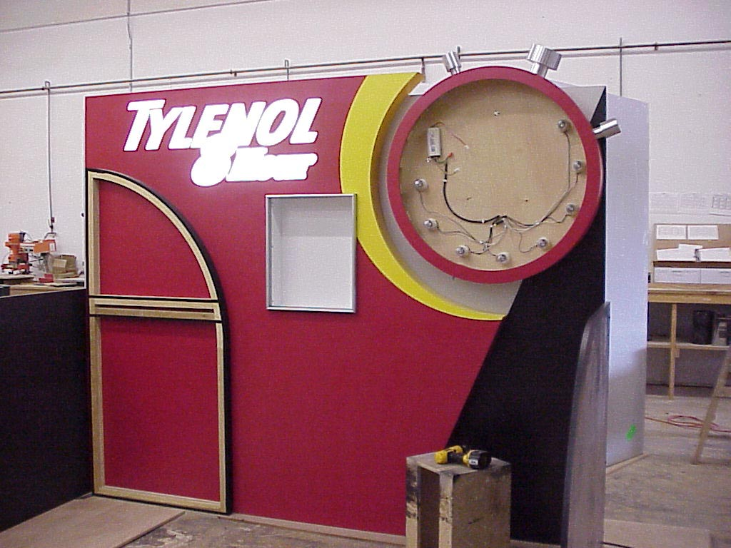 tradeshow booth lighting, display lighting, Tylenol booth under construction.