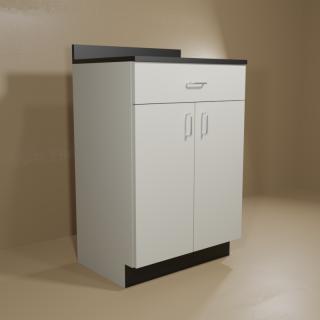 1 Drawer 2 Door Cabinet with Grey Base & Black Top