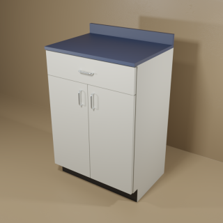 1 Drawer 2 Door Cabinet with Grey Base & Blue Top