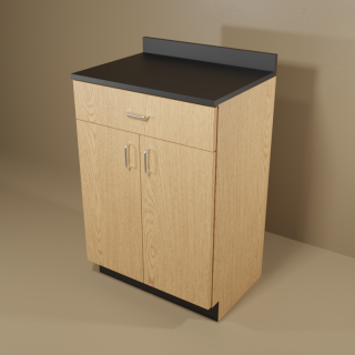 1 Drawer 2 Door Cabinet with Oak Base & Black Top