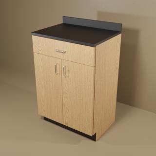 1 Drawer 2 Door Cabinet with Oak Base & Black Top
