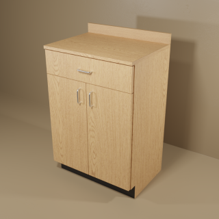 1 Drawer 2 Door Oak Cabinet