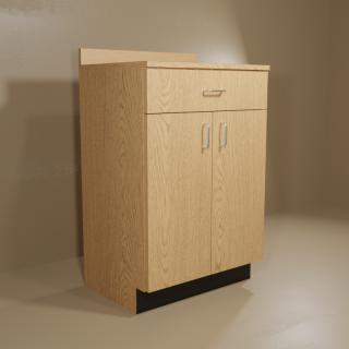 1 Drawer 2 Door Oak Cabinet