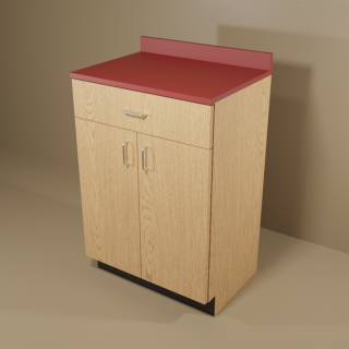 1 Drawer 2 Door Cabinet with Oak Base & Red Top