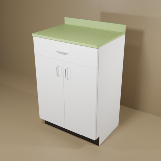 1 Drawer 2 Door Cabinet with White Base & Green Top