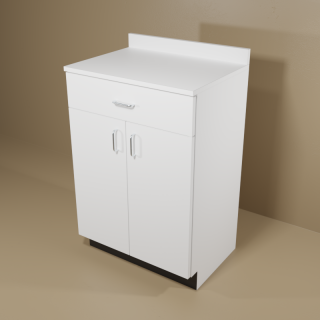 1 Drawer 2 Door White Cabinet