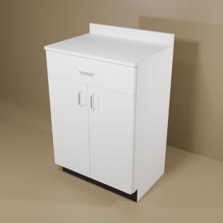 1 Drawer 2 Door White Cabinet