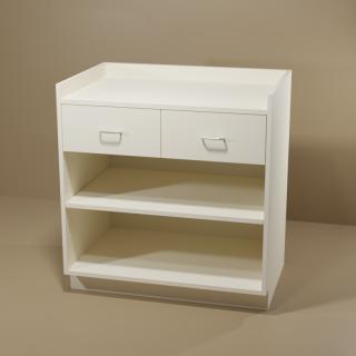 2 Drawer Adjustable Shelf Almond Cabinet