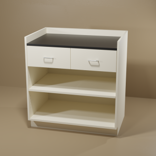 2 Drawer Adjustable Shelf Cabinet with Almond Base & Black Top