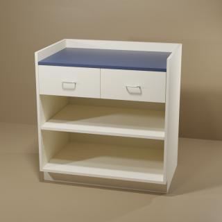 2 Drawer Adjustable Shelf Cabinet with Almond Base & Blue Top