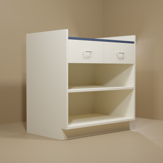 2 Drawer Adjustable Shelf Cabinet with Almond Base & Blue Top