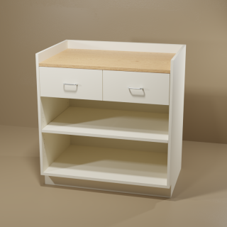 2 Drawer Adjustable Shelf Cabinet with Almond Base & Oak Top