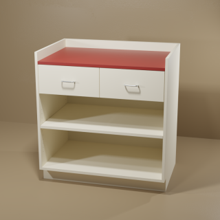 2 Drawer Adjustable Shelf Cabinet with Almond Base & Red Top