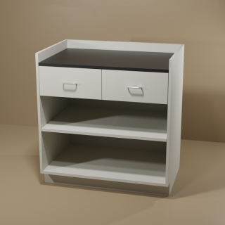 2 Drawer Adjustable Shelf Cabinet with Grey Base & Black Top