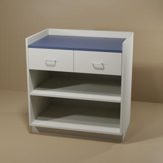 2 Drawer Adjustable Shelf Cabinet with Grey Base & Blue Top