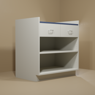2 Drawer Adjustable Shelf Cabinet with Grey Base & Blue Top