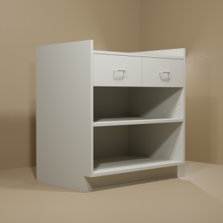 2 Drawer Adjustable Shelf Grey Cabinet