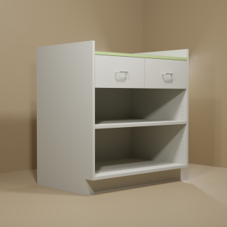 2 Drawer Adjustable Shelf Cabinet with Grey Base & Green Top