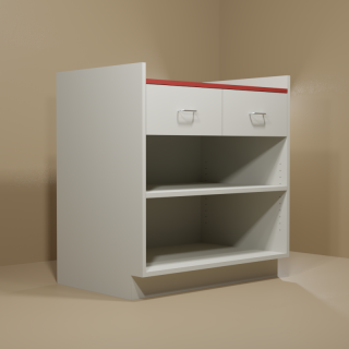 2 Drawer Adjustable Shelf Cabinet with Grey Base & Red Top