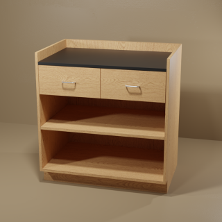 2 Drawer Adjustable Shelf Cabinet with Oak Base & Black Top