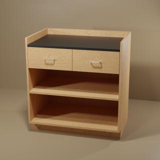 2 Drawer Adjustable Shelf Cabinet with Oak Base & Black Top