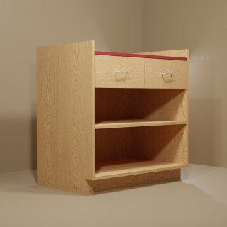 2 Drawer Adjustable Shelf Cabinet with Oak Base & Red Top