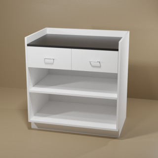 2 Drawer Adjustable Shelf Cabinet with White Base & Black Top