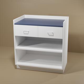 2 Drawer Adjustable Shelf Cabinet with White Base & Blue Top