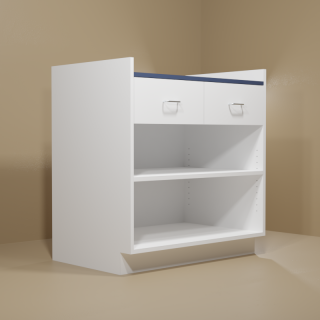 2 Drawer Adjustable Shelf Cabinet with White Base & Blue Top