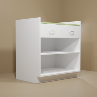 2 Drawer Adjustable Shelf Cabinet with White Base & Green Top