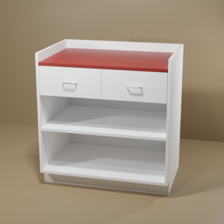 2 Drawer Adjustable Shelf Cabinet with White Base & Red Top