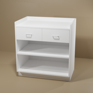 2 Drawer Adjustable Shelf White Cabinet