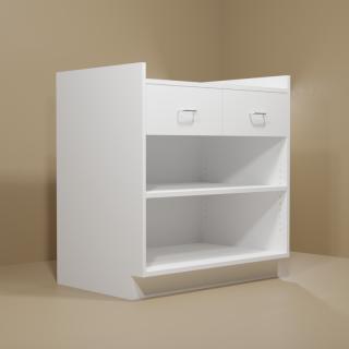 2 Drawer Adjustable Shelf White Cabinet