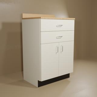 2 Drawer 2 Door Cabinet with Almond Base & Oak Top