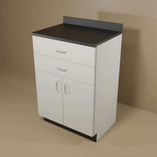 2 Drawer 2 Door Cabinet with Grey Base & Black Top