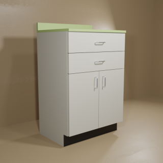 2 Drawer 2 Door Cabinet with Grey Base & Green Top