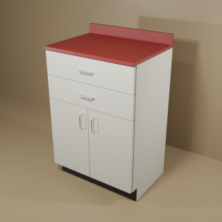 2 Drawer 2 Door Cabinet with Grey Base & Red Top